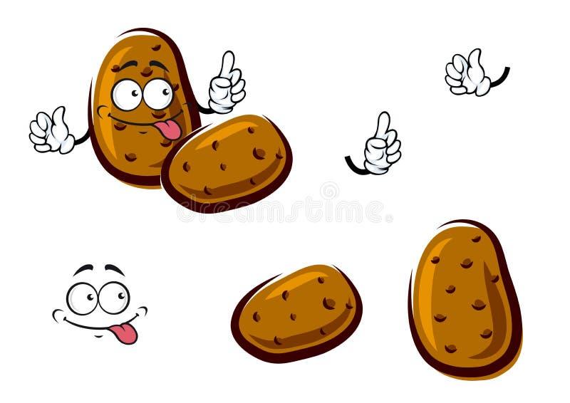 Légumes bruns frais de bande dessinée de pomme de terre illustration stock