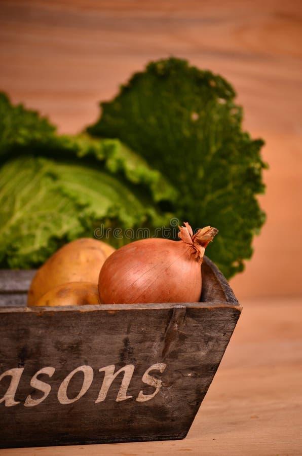 Légumes colorés chou, chou-fleur, brocoli, pomme de terre, oignon sur la table en bois photographie stock libre de droits
