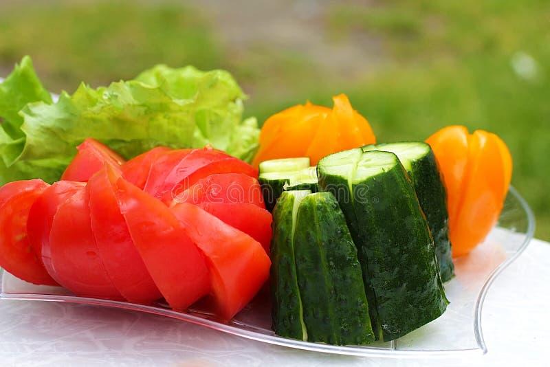 Légumes coupés frais tomate, concombre, salade d'un plat de pique-nique sur un fond naturel photos libres de droits