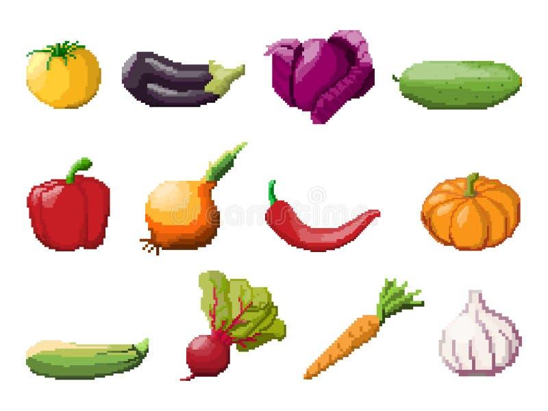 Légumes d'art de pixel sur le blanc illustration stock