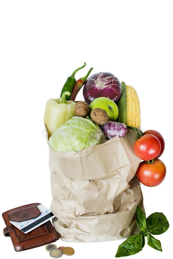 Légumes dans l'achat de bourse de pièce de monnaie d'isolat de paquet image libre de droits