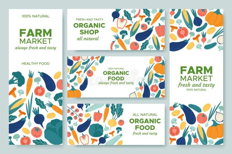 Légumes de bannière Le menu de légume frais, l'aliment biologique et les bannières de produits naturels dirigent l'ensemble d'ill illustration de vecteur