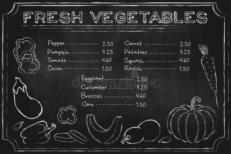 Légumes de Blackboard Menu rustique en tableau noir avec légumes dessinés à la main sur le tableau de bord illustration d'une ali illustration de vecteur