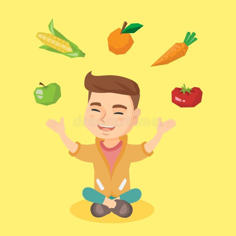 Légumes de jonglerie et fruit de garçon caucasien illustration stock