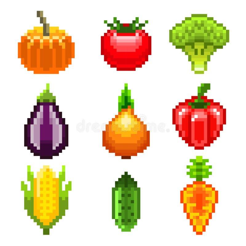 Légumes de pixel pour l'ensemble de vecteur d'icônes de jeux illustration de vecteur