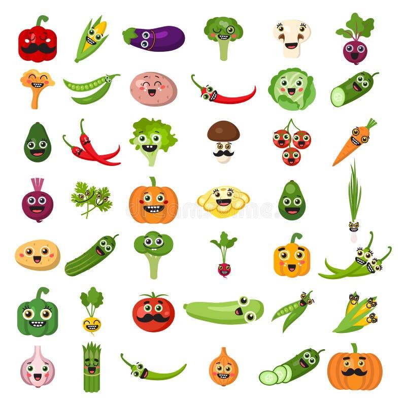 Légumes de sourire réglés illustration de vecteur