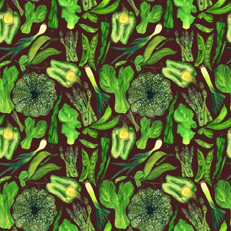 Légumes de vert d'aquarelle dans un modèle sur un fond brun illustration libre de droits