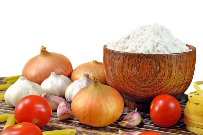 Légumes et farine images libres de droits