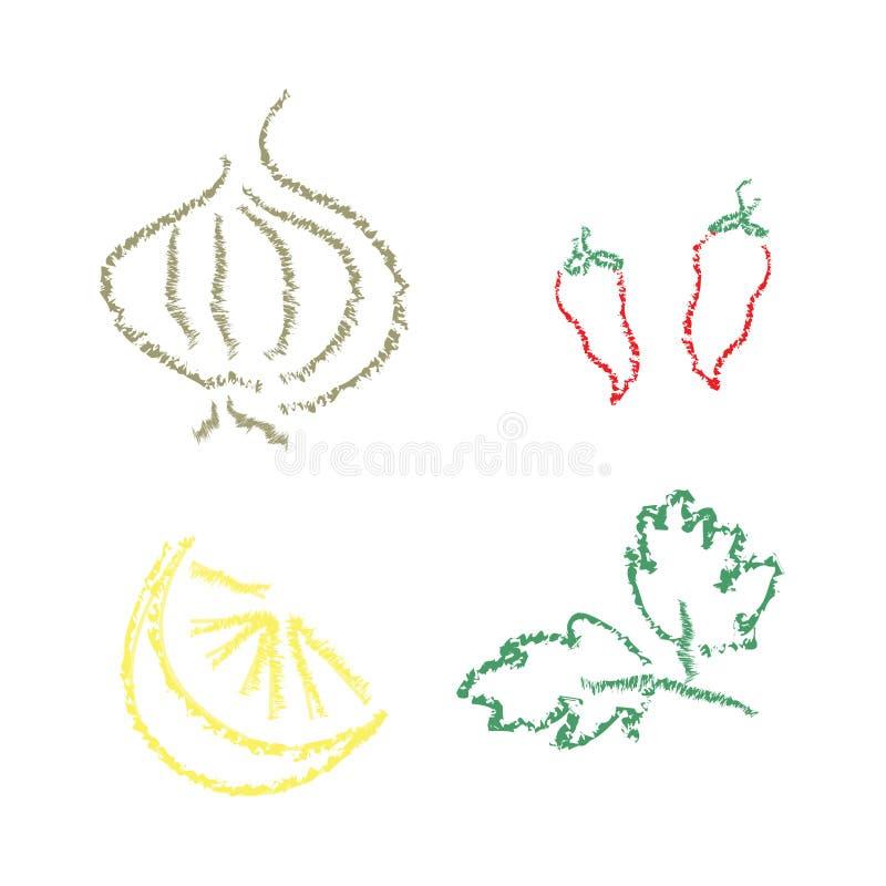 Légumes et fruit abstraits illustration stock