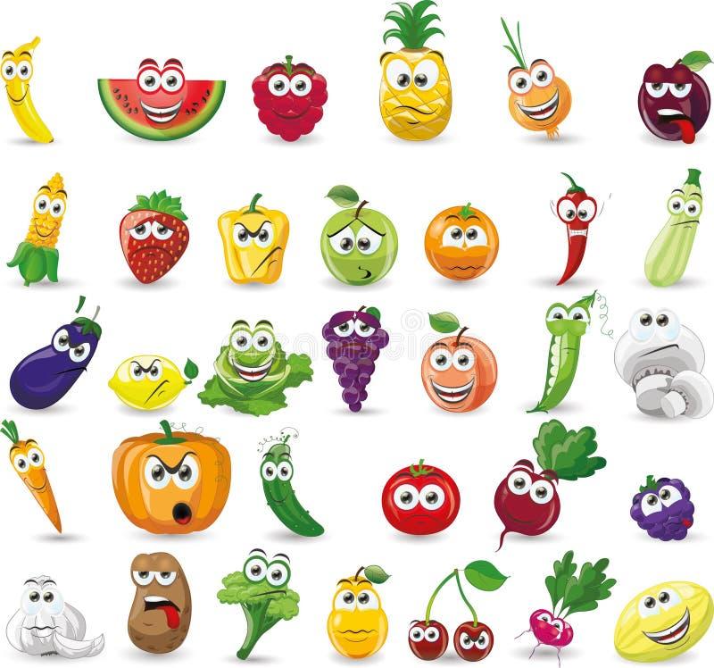 Légumes et fruits de bande dessinée illustration de vecteur
