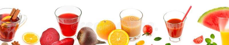 Légumes et jus de fruit d'isolement sur le fond blanc Panora photographie stock