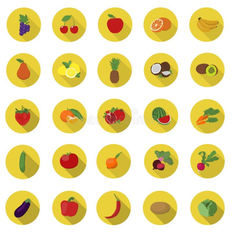 Légumes et vecteur d'icônes de fruit illustration stock