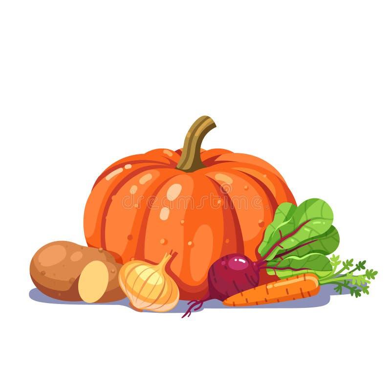Légumes fraîchement plumés dans une composition gentille illustration de vecteur