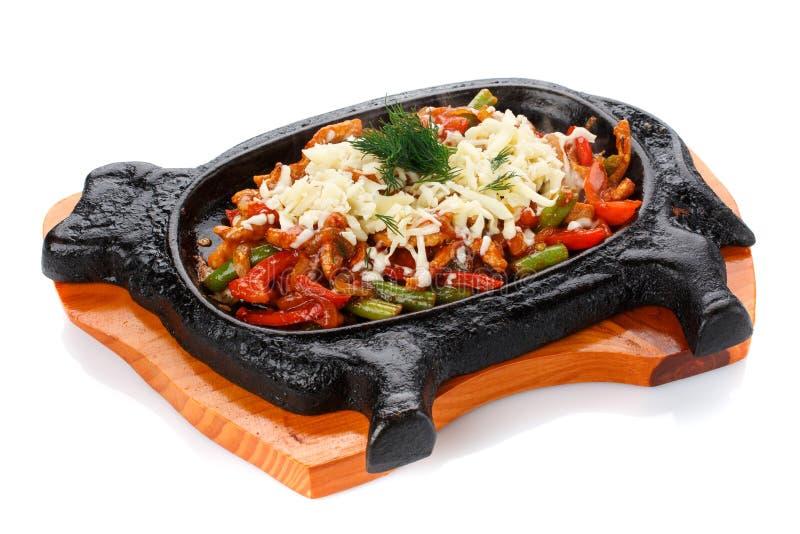 Légumes grillés dans une poêle photos stock