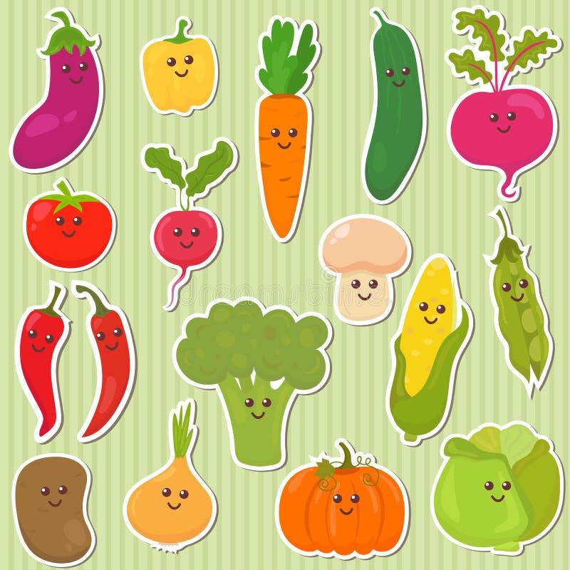 Légumes mignons, nourriture saine illustration libre de droits
