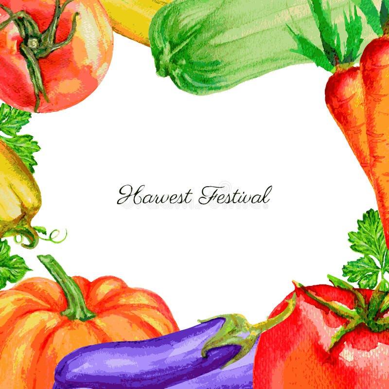 Légumes potiron, tomate, poivre, courgette, betteraves, carotte, illustration tirée par la main de vecteur d'aquarelle de persil illustration stock
