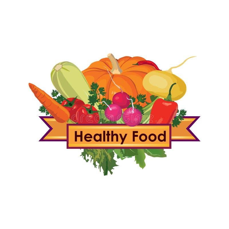 légumes Signe sain de menu de nourriture illustration stock