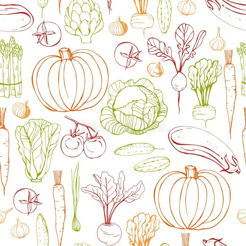 Légumes tirés par la main Dirigez la configuration sans joint illustration stock