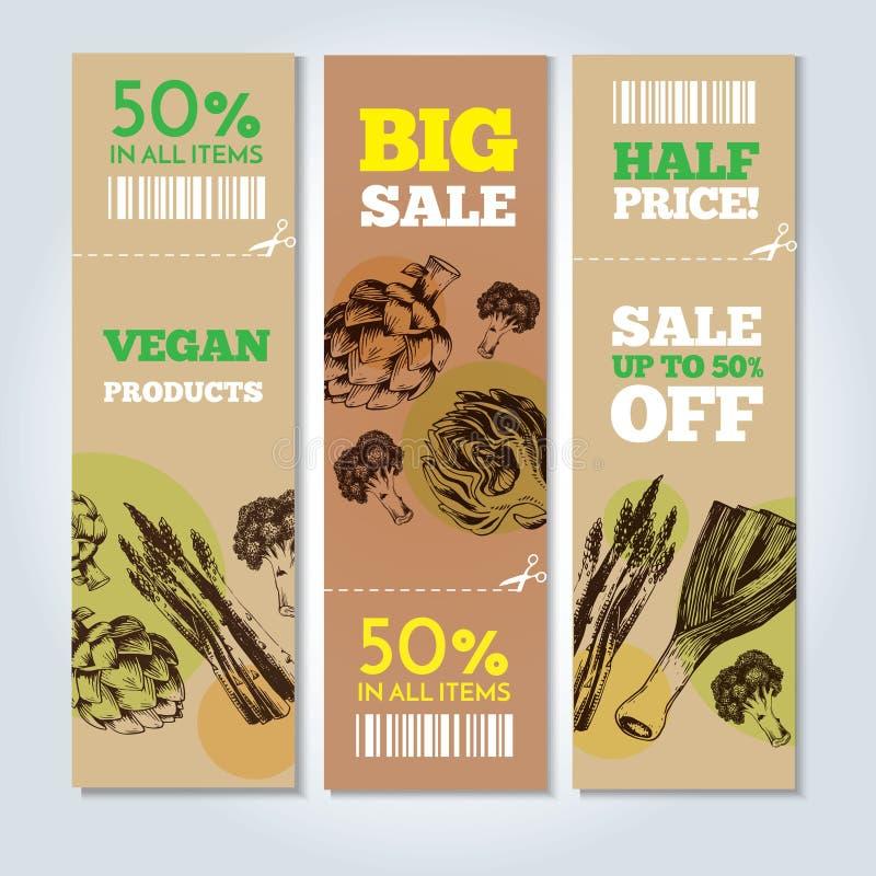 Légumes tirés par la main sur des bannières Illustration de vecteur illustration libre de droits