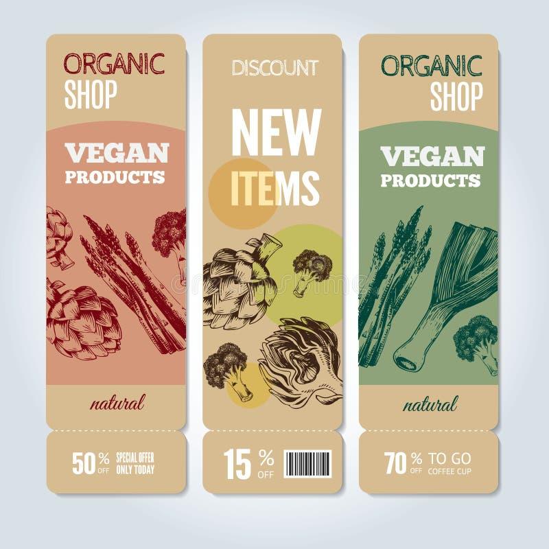 Légumes tirés par la main sur des bannières Illustration de vecteur illustration stock