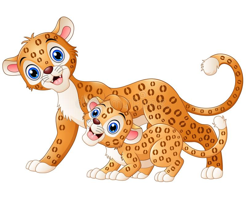 Léopard de mère et bande dessinée de léopard de petit animal illustration de vecteur