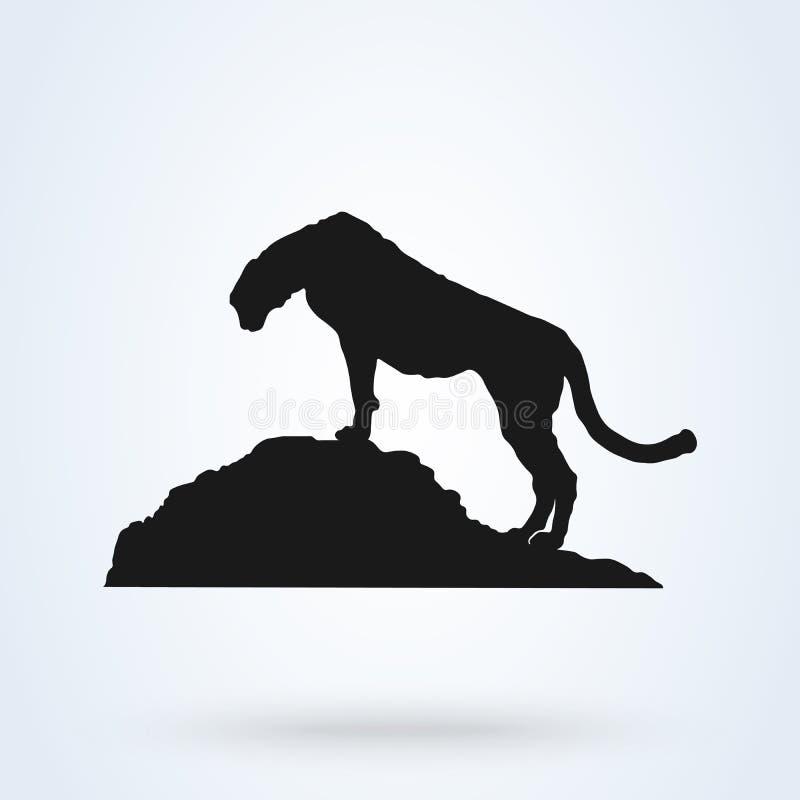 Léopard sur la silhouette de noir de colline D'isolement sur le fond blanc illustration de vecteur