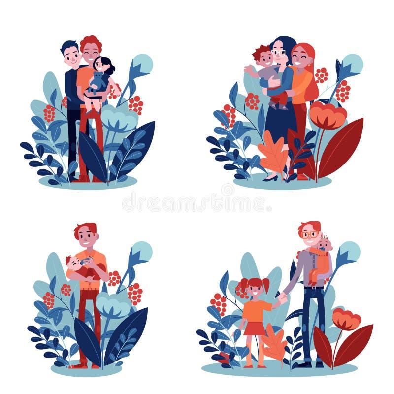 Lésbica do vetor, famílias alegres com as crianças ajustadas ilustração royalty free