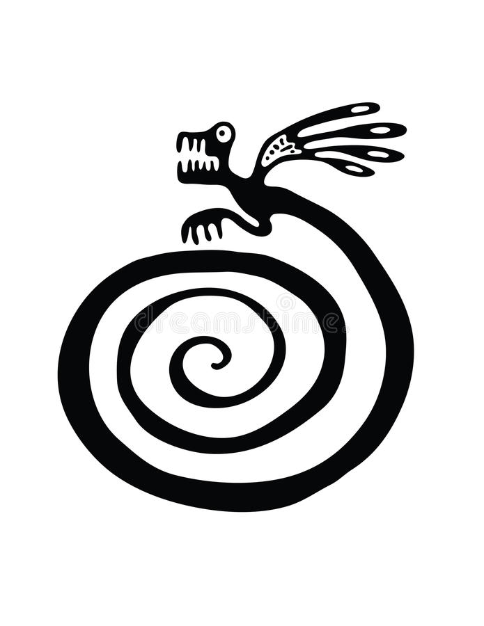 Lézard ou dragon dans le style indigène illustration libre de droits