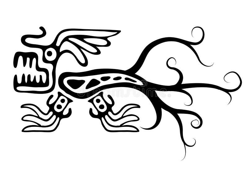 Lézard ou dragon dans le style indigène illustration de vecteur
