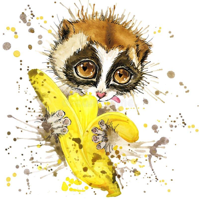Lêmure e banana engraçados com o respingo da aquarela textured