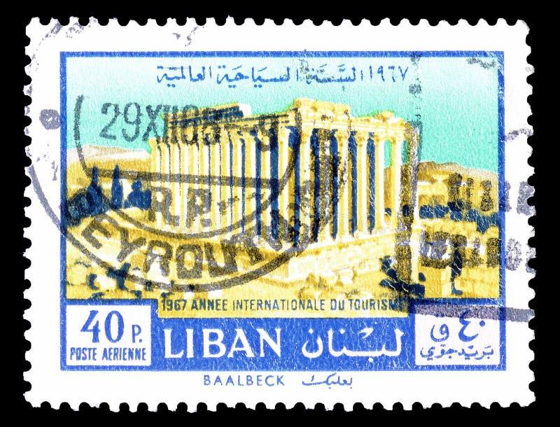 Líbano em selos postais imagem de stock