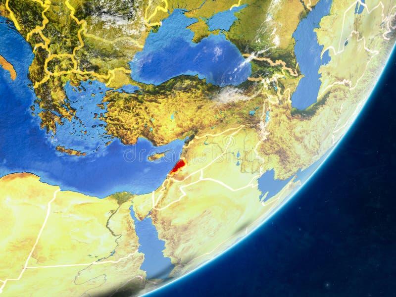 Líbano en la tierra del espacio stock de ilustración
