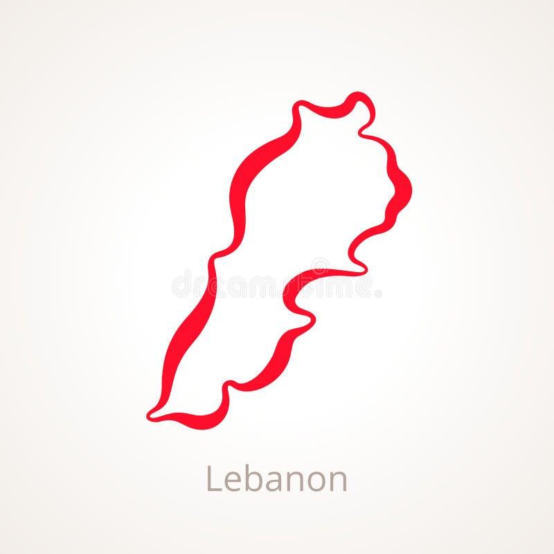 Líbano - mapa do esboço ilustração do vetor