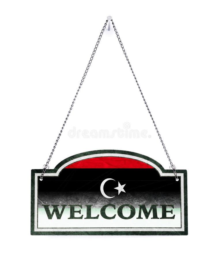 Líbia dá-lhe boas-vindas! Sinal velho do metal isolado fotografia de stock royalty free
