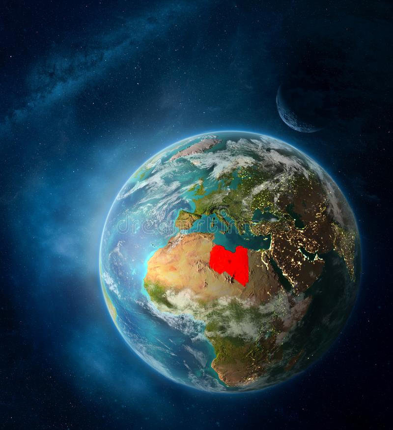 Líbia do espaço na terra do planeta foto de stock