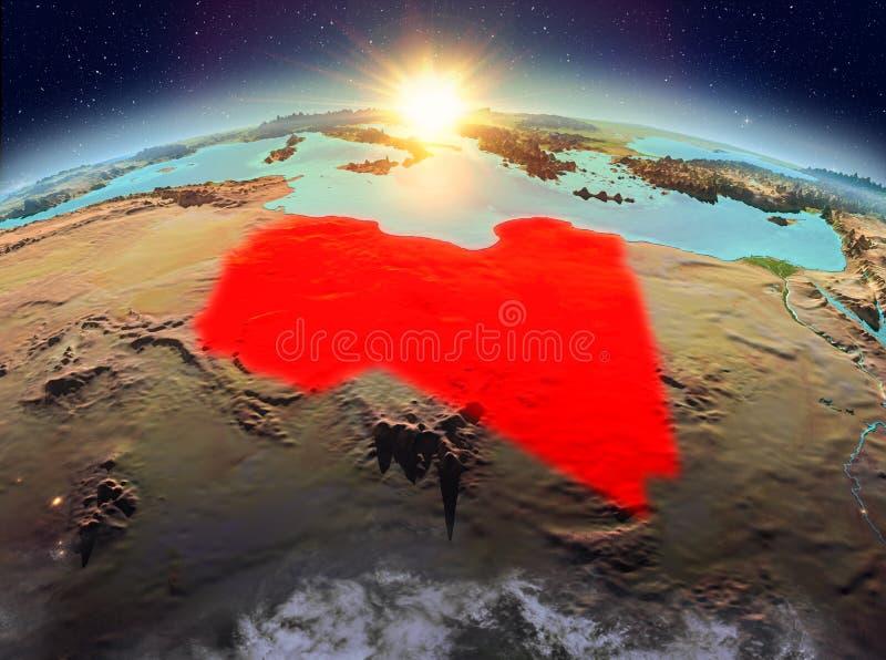 Líbia do espaço no nascer do sol imagens de stock