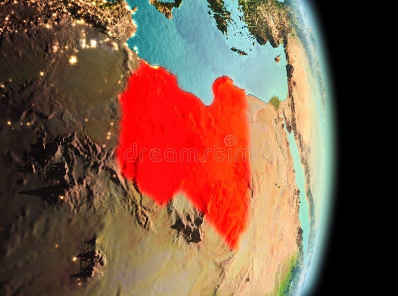 Líbia na manhã da órbita foto de stock