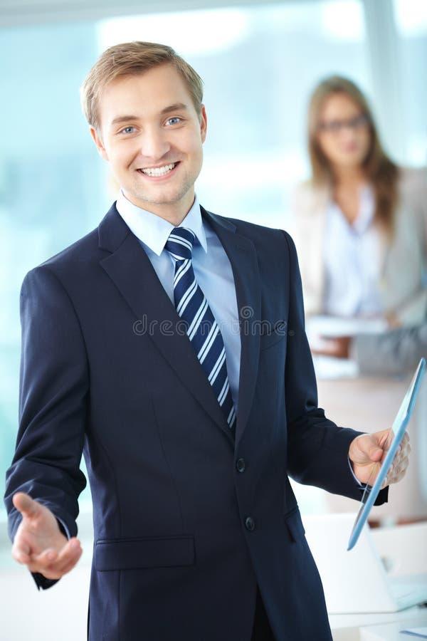 Líder alegre imagens de stock