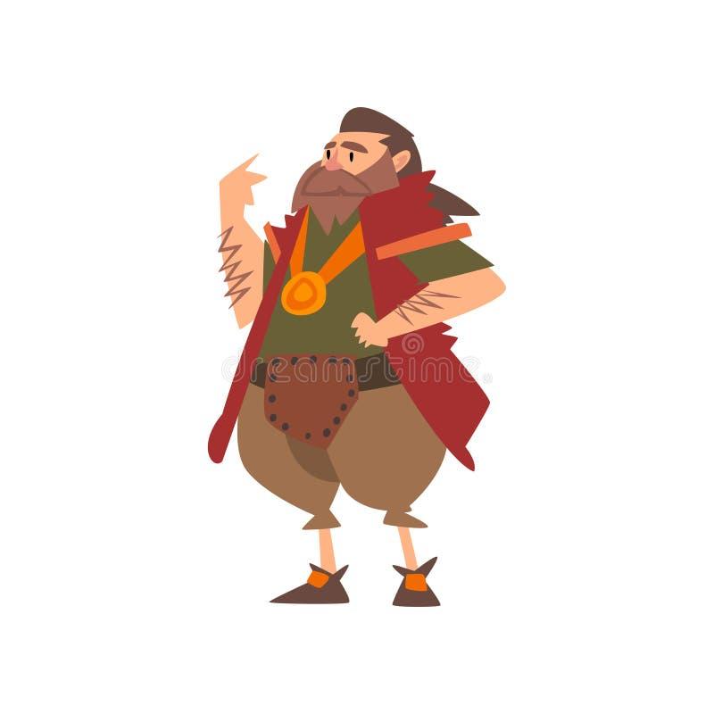 Líder bárbaro, personaje de dibujos animados histórico medieval en el ejemplo tradicional del vector del traje libre illustration
