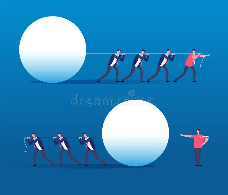 Líder contra el jefe Gestión de los empleados, y concepto acertado del encargado, de la dirección y del vector del trabajo en equ ilustración del vector