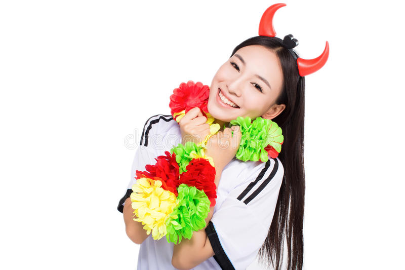 Líder da claque asiático da menina, chinês imagem de stock