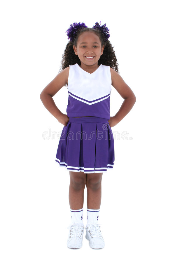 Líder da claque bonito dos anos de idade seis sobre o branco foto de stock royalty free