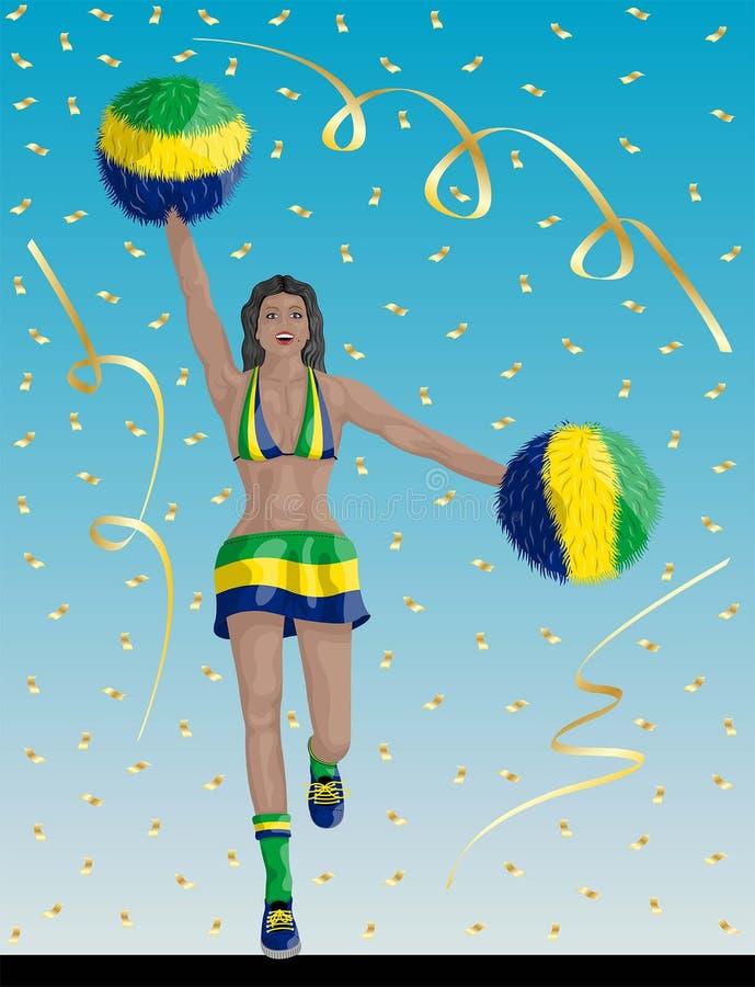 Líder da claque brasileiro de fãs de Brasil ilustração do vetor