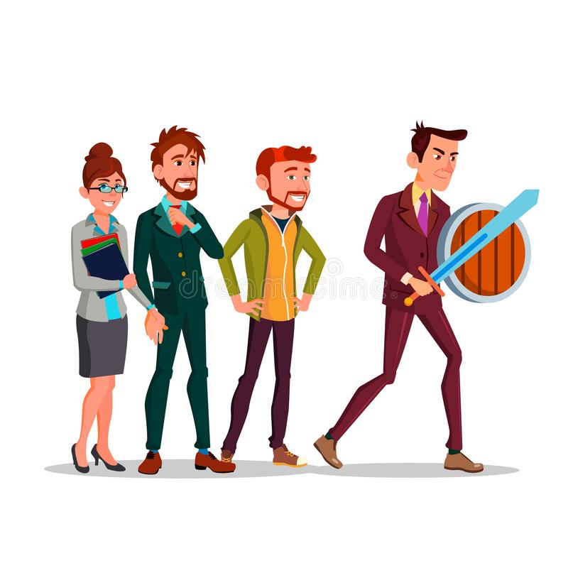 Líder da equipa Homem com espada e protetor e sua ilustração de Team Behind Vetora Flat Cartoon ilustração royalty free