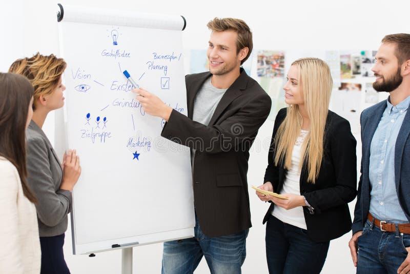 Líder da equipa que dá uma apresentação fotografia de stock royalty free