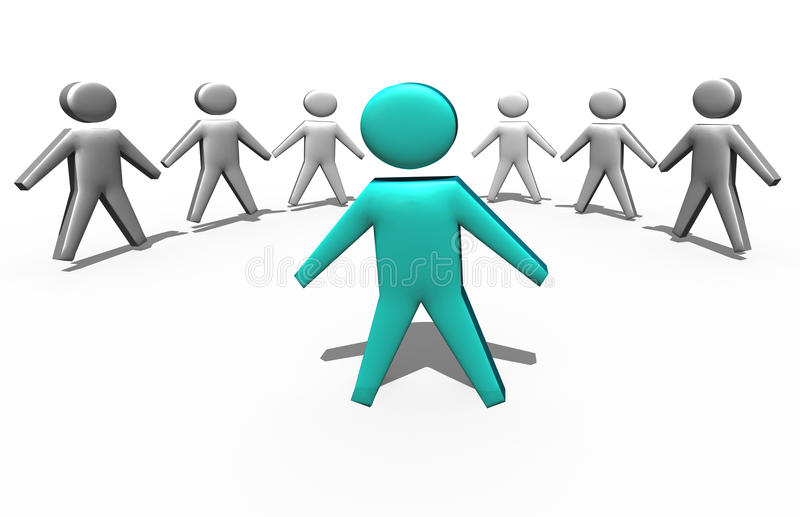 Líder de equipo en la muchedumbre stock de ilustración