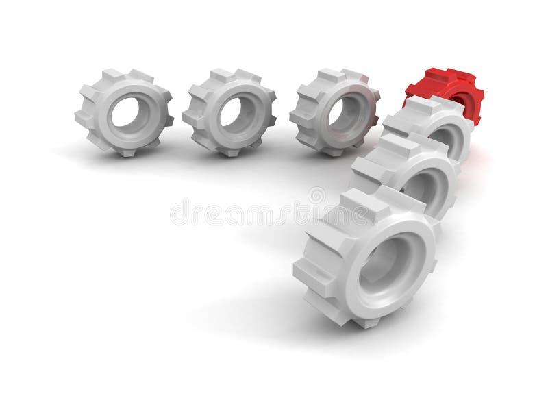 Líder de equipo rojo del engranaje del concepto que se mueve adelante al éxito stock de ilustración