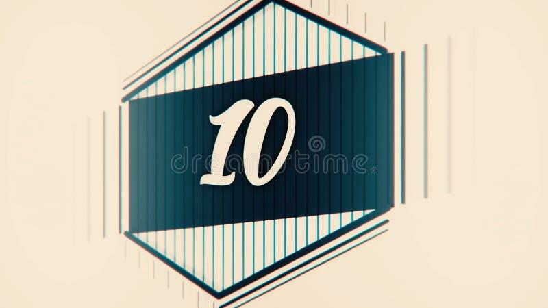 Líder de la película de la cuenta descendiente con números exhaustos Pare la animación en colores pastel de la historieta de la c stock de ilustración