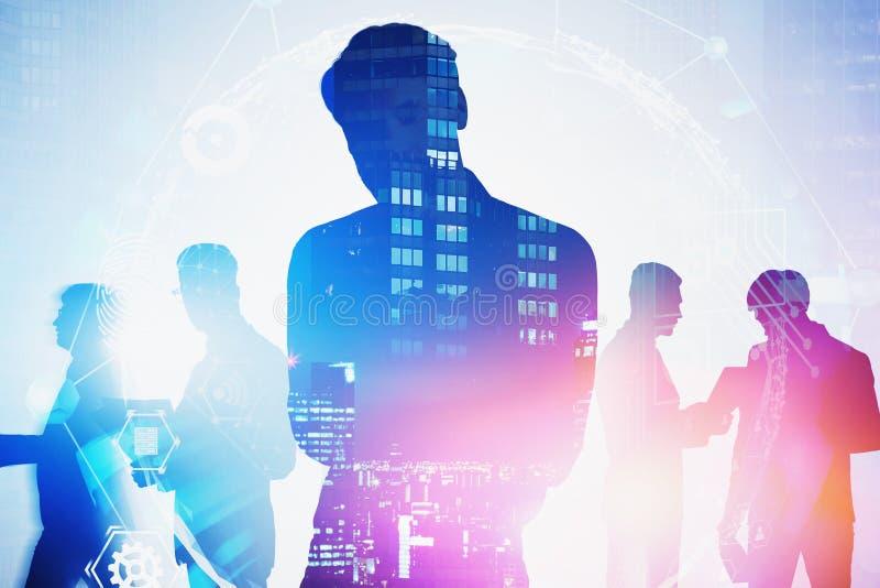 Líder de negócio na cidade, conexão global imagens de stock royalty free