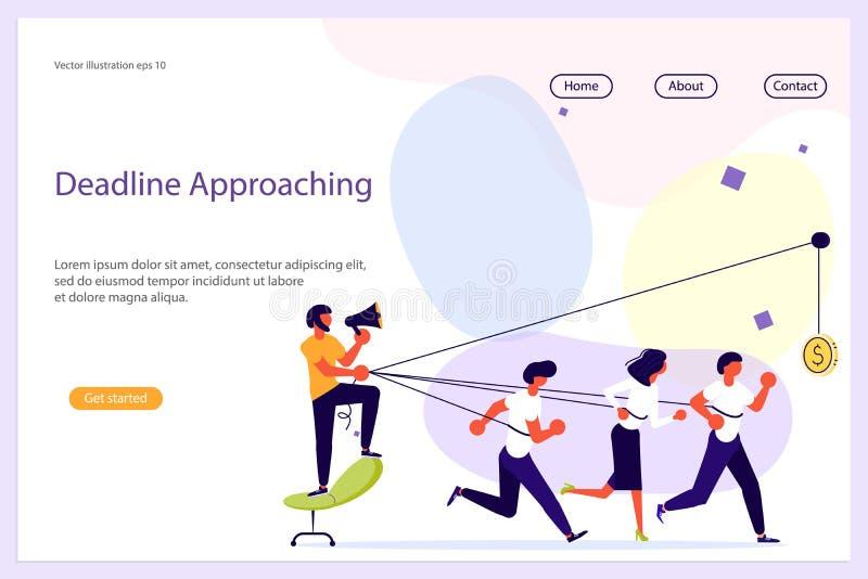 Líder de negócio Work em Team Website ilustração do vetor